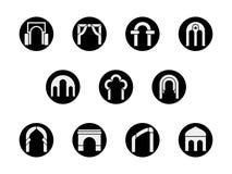 Runde schwarze Ikonen der Feldbogenformen eingestellt Stockfotografie