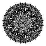 Runde schwarze Mandala auf weißem lokalisiertem weißem Hintergrund Vektor boho Zeichnungselement Ethnisches Symbol lizenzfreie abbildung