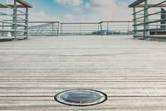 Runde Solarplattform LED Stockbild