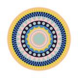 Runde Stammes- Wolldecke mit bunten Formen stock abbildung