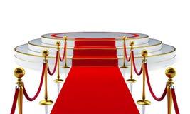 Runde Stufe mit rotem Teppich Stockbild