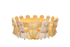 Runde Tabelle und Stühle, eine Anordnung zum zu speisen Stockfotografie