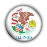 Runde Taste USA-Zustand-Markierungsfahne von Illinois Stockfotografie