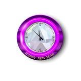 Runde Uhr mit Gruß des neuen Jahres Lizenzfreies Stockbild