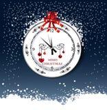 Runde Uhr mit Weihnachtstagesgruß Lizenzfreies Stockbild