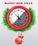 Runde Uhr mit Weihnachtstagesgruß Stockfoto