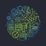 Runde Vektorillustration der Biotechnologie lizenzfreie abbildung