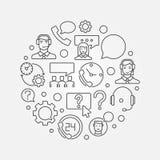 Runde Vektorillustration des Kundendiensts Stockfotografie