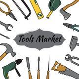 Runde Vektorillustration mit Werkzeugen Lizenzfreie Stockfotos