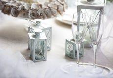 Runder Abendtisch der eleganten Hochzeit Lizenzfreie Stockfotos