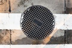 Runder Abwasserkanal mit Löchern Stockbilder