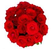 Runder Blumenstrauß der roten Rosen Stockbild