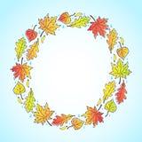 Runder dekorativer Rahmen des Herbstes Stockfoto