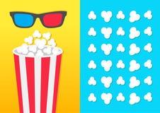 Runder Eimerkasten des Popcorns rote blaue Gläser 3D Film-Kinoikone in der flachen Designart Knallendes Muster des Popcorns Blaue Vektor Abbildung