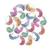 Runder geformter Hintergrund des Aquarells mit Ostereiern lizenzfreie abbildung
