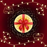 Runder Geschenkkasten Beschneidungspfad eingeschlossen Goldene und rote Bogenbänder Lampenbirne vektor abbildung