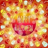Runder glücklicher Halloween-Rahmen mit den bunten Schädeln Lizenzfreie Stockfotografie