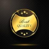 Runder goldener bester Qualitätsausweis Stockfoto