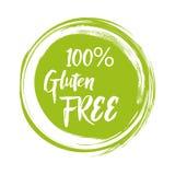 Runder grüner Aufkleber mit Text - Gluten frei Auch im corel abgehobenen Betrag lizenzfreie abbildung