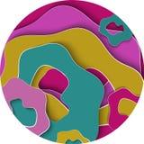Runder Hintergrund der Zusammenfassung 3D mit Papier schnitt Formen Bunte Schichten in den natürlichen Farben Loch, Schicht, Well Lizenzfreie Stockfotografie