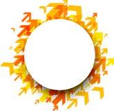 Runder Hintergrund mit orange Pfeilen Stockbild