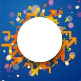 Runder Hintergrund mit orange Pfeilen Lizenzfreie Stockfotografie