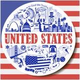 Runder Hintergrund Vereinigter Staaten Stellen Sie Vektorikonen und Symbole von USA-Marksteinen ein Lizenzfreies Stockfoto