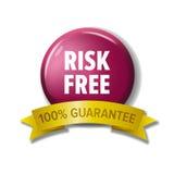 Runder hochroter Knopf mit Wörter ` Risiko frei- 100% garantieren ` Lizenzfreie Stockfotos