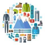 Runder Ikonensatz der Wintersportkleidung und -ausrüstung Skifahren, Snowboardingvektor lokalisiert Skiortelemente im flachen Des Stockbilder