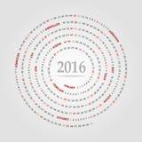 Runder Kalender für 2016-jähriges Woche beginnt Sonntag Stockbilder
