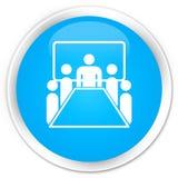 Runder Knopf des erstklassigen Cyanblaus der Konferenzzimmer-Ikone Lizenzfreies Stockbild