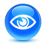 Runder Knopf des glasigen Cyanblaus der Augenikone Lizenzfreies Stockbild