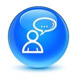 Runder Knopf des glasigen Cyanblaus der Ikone des Sozialen Netzes Stockbilder