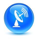 Runder Knopf des glasigen Cyanblaus der Satellitenschüsselikone Stockbild