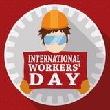 Runder Knopf mit Arbeiter für Gedenken der Arbeitskräfte Tages, Vektor-Illustration lizenzfreie abbildung