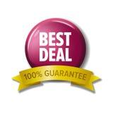 Runder Knopf mit Aufkleber ` bestem Abkommen - 100% garantieren ` lizenzfreie abbildung