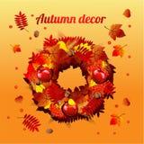 Runder Kranz des Herbstlaubs lizenzfreie abbildung