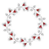 Runder Kranz mit dekorativen Herzen stock abbildung