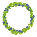 Runder Kranz mit Grünblättern und Blaubeere, Heidelbeere, Heidelbeerfrische saftige Beeren lokalisiert auf weißem Hintergrund Vek lizenzfreie abbildung