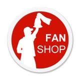 Runder lokalisierter roter fanshop Knopf Lizenzfreie Stockbilder