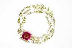 Runder mit Blumenrahmen auf weißem Hintergrund Flache Lage, Draufsicht Stockfotos