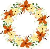Runder mit Blumenrahmen mit Raum f?r Text Orange und beige Blumen lizenzfreie abbildung