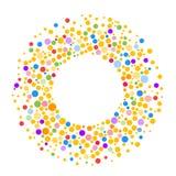Runder Punktrahmen mit leerem Raum für Ihren Text Gemacht von den bunten Stellen oder von den Punkten der verschiedenen Größe Kre vektor abbildung