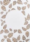 Runder Rahmen auf den Hintergrundblättern Blätter geschnitten vom Papier Stockfoto