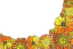 Runder Rahmen der Blumenmohnblume Aquarellzeichnung mit einem Konturnanschlag auf einem wei?en Hintergrund, f?r den Entwurf von E vektor abbildung