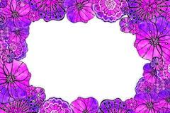Runder Rahmen der Blumenmohnblume Aquarellzeichnung mit einem Konturnanschlag auf einem wei?en Hintergrund, f?r den Entwurf von E stock abbildung