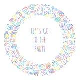 Runder Rahmen der Partei Feiermuster Geburtstag, Feiertage, Ereignis, Karneval festlich Parteidekorelemente verdünnen Ikonen vektor abbildung