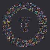 Runder Rahmen der Partei Feiermuster Geburtstag, Feiertage, Ereignis, Karneval festlich Parteidekorelemente verdünnen Ikonen lizenzfreie abbildung