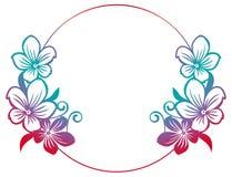 Runder Rahmen der Steigung mit abstrakten Blumenschattenbildern Stockbilder