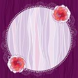 Runder Rahmen der Weinlese mit rosa Chrysantheme Lizenzfreies Stockfoto